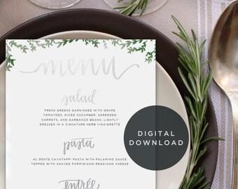 printable calligraphy wedding menu // custom handwritten menu design download // downloadable digital design for reception decor