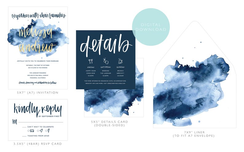 watercolor wedding invitation suite download  modern boho custom designed handwritten printable  bohemian navy and gold digital design