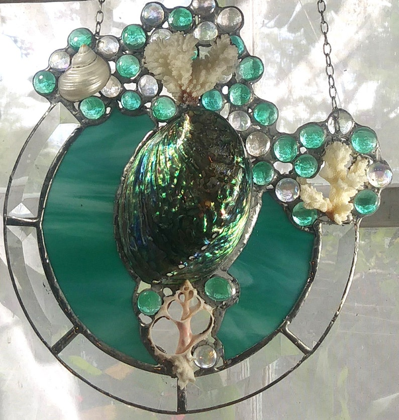Polished Abalone Sculpture in Teal