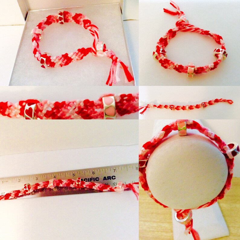 JeriAielloartstore red and pinks love and friendship Valentine bracelet knotted Valentine beaded woven medium adult macrame jewelry