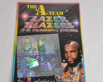 sealed A-Team Lazer Blazers 3-D Holographic stickers by ColorForms 1983 Mr. T