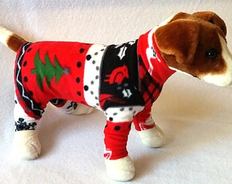 dog or cat long john style pajamas fleece clothes sweater outfit festive christmas holiday themed print