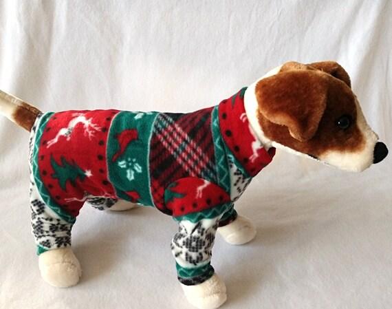 Fleece Dog Clothes Cat Clothes Dog Pajamas Long Johns Fleece Christmas Sweater Red Reindeer Holiday Print by JazzyJammies