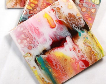 Set of 4, Hand-made coasters, original hand-painted, Acrylic Pour, heat-resistant coasters (C5)