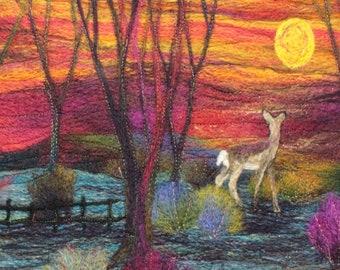 Needle felting kit (Deer at Sunset), Felting kit, Picture kit, craft kit, picture kit, hand made picture, kit