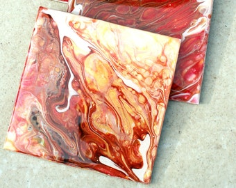 Set of 4, Hand-made coasters, original hand-painted, Acrylic Pour, heat-resistant coasters (C2)