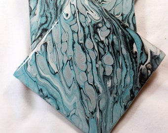 Set of 4, Hand-made coasters, original hand-painted, Acrylic Pour, heat-resistant coasters (C15)