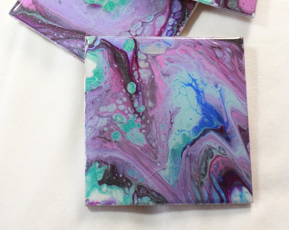 Set of 4, Hand-made coasters, original hand-painted, Acrylic Pour, heat-resistant coasters (C17)