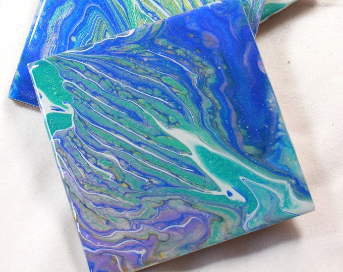 Set of 4, Hand-made coasters, original hand-painted, Acrylic Pour, heat-resistant coasters (C20)