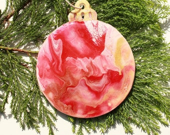 Personalised Christmas Bauble, decoration (B16), Hand-Painted, acrylic with resin coating