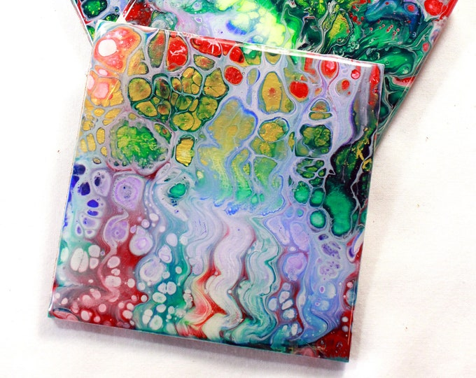 Set of 4, Hand-made coasters, original hand-painted, Acrylic Pour, heat-resistant coasters (C6)