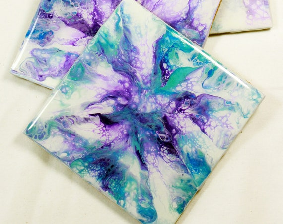 Set of 4, Hand-made coasters, original hand-painted, Acrylic Pour, heat-resistant coasters (C19)