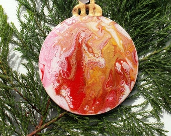 Christmas Bauble, decoration (B7), Hand-Painted, acrylic with resin coating