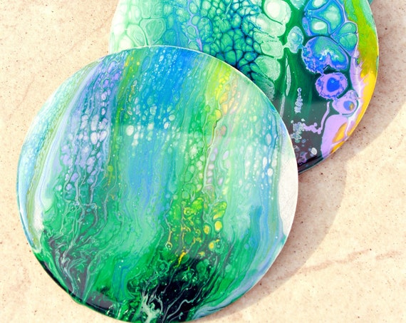 Set of 4, Hand-made coasters, original hand-painted, Acrylic Pour, heat-resistant coasters (C16)