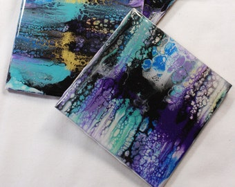 Set of 4, Hand-made coasters, original hand-painted, Acrylic Pour, heat-resistant coasters (C4)