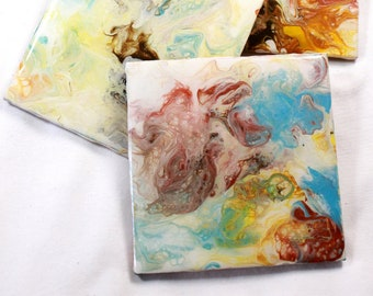 Set of 4, Hand-made coasters, original hand-painted, Acrylic Pour, heat-resistant coasters (C7)