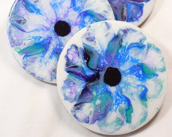 Set of 4, Hand-made coasters, original hand-painted, Acrylic Pour, heat-resistant coasters (C11)