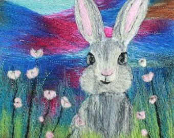 Needle felting kit (The Rabbit), Felting kit, Picture kit, craft kit, picture kit, hand made picture, kit