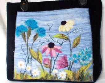 Handmade felted bag, tote, large bag (cornflowers)