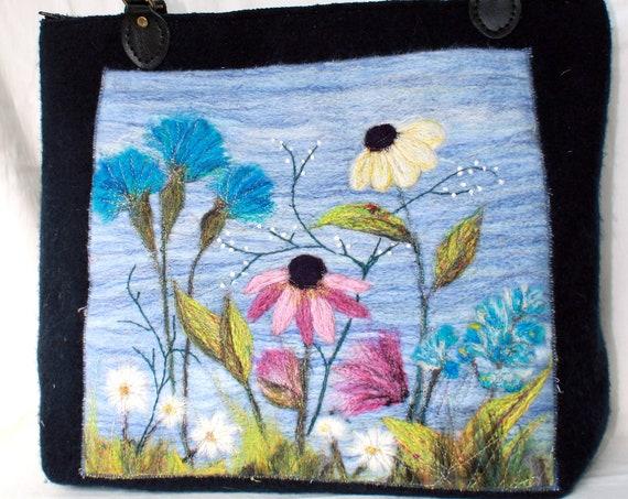 Large handmade felted bag (cornflowers)