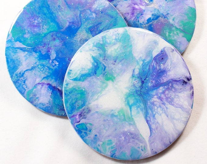 Set of 4, Hand-made coasters, original hand-painted, Acrylic Pour, heat-resistant coasters (C14)