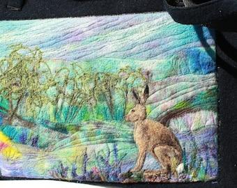 Handmade felted work bag (hare), tote , knitting bag, large bag