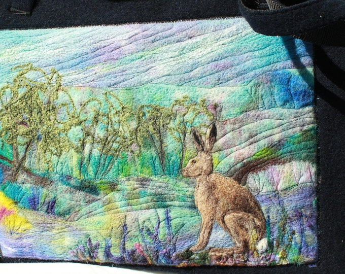 Large handmade felted work bag (hare)