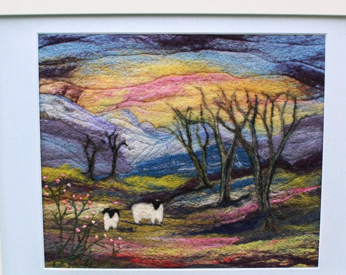 Large Needle-felted Picture in a Frame, hand made picture.