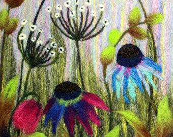 Needle felting kit (Field of Flowers), Felting kit, Picture kit, craft kit, picture kit, hand made picture, kit