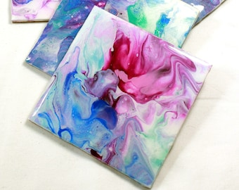 Set of 4, Hand-made coasters, original hand-painted, Acrylic Pour, heat-resistant coasters (C1)