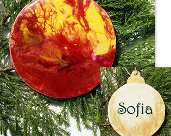 Christmas Bauble, decoration (B3), Hand-Painted, acrylic with resin coating