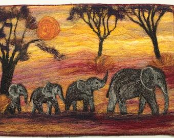 Book Cover/Picture Needle felting kit (Elephant Family)
