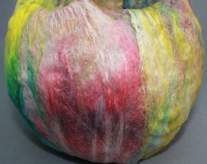 Tealight Holder (TLH10) with hand felted fibres