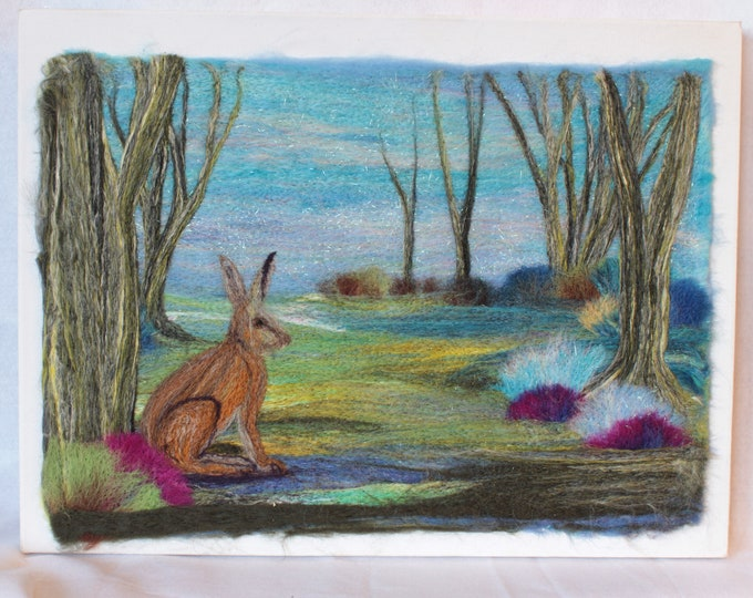 Needle felted Picture on a 3D Canvas (Hare), hand made picture.