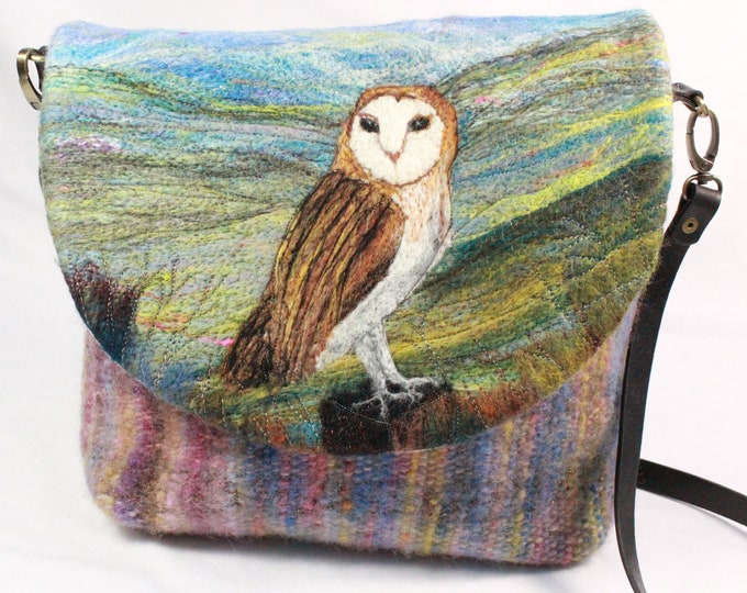 Handmade felted, hand-woven shoulder bag (Owl)