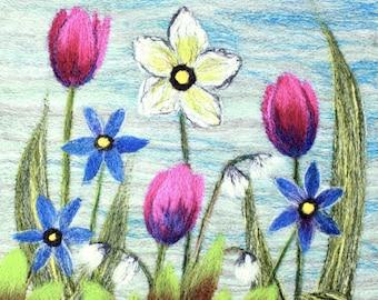 Needle felting kit (Spring), Felting kit, Picture kit, craft kit, picture kit, hand made picture, kit