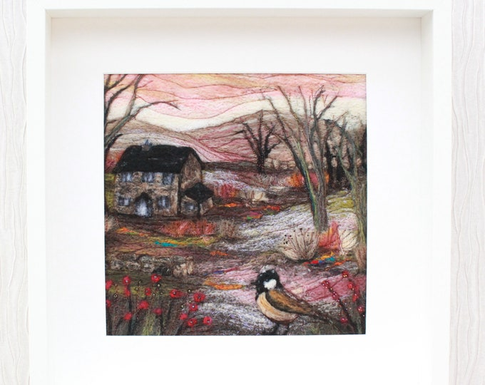 Needle-felted Picture in Deep Edge Frame, hand made picture.