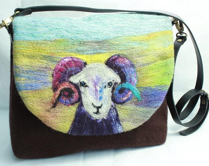 Handmade felted shoulder bag (Ram)
