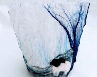 Tealight Holder with hand felted fibres