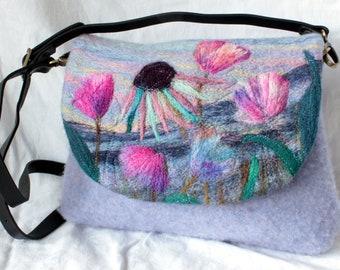 Handmade felted shoulder bag