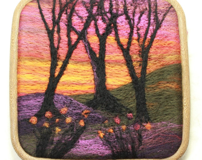 Needle felting kit, Quick Kit (Woods at Sunset)