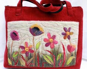 Handmade felted work bag, tote , knitting bag, large bag