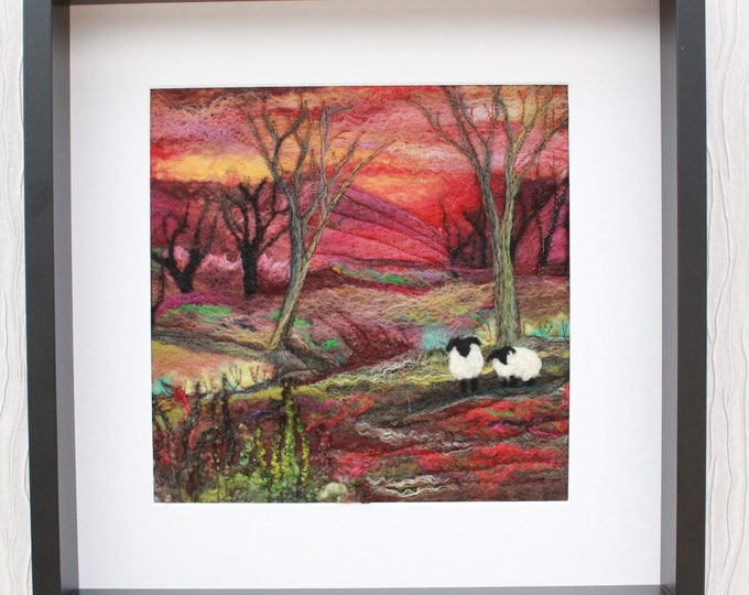 Large Needle felted Picture in a Deep Edge Frame