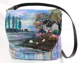 Handmade felted, hand-woven shoulder bag (Cottage by the lake)