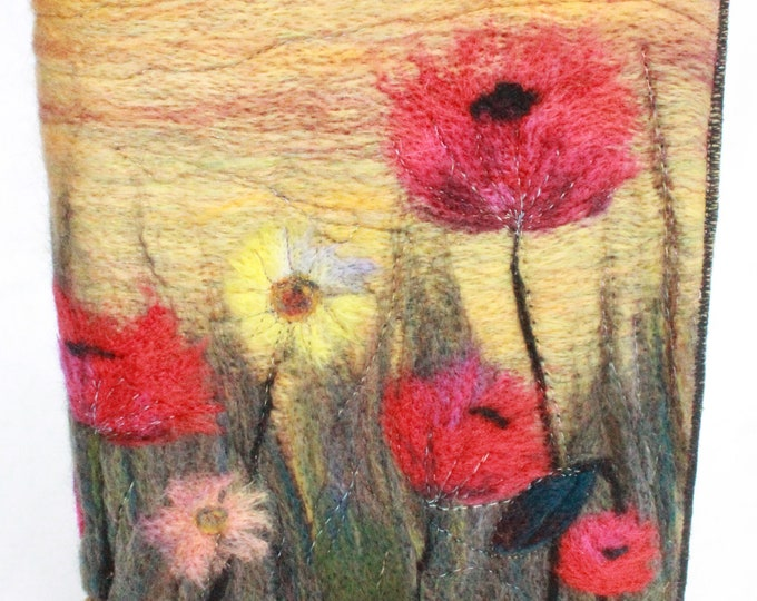 Needle Felted Covered A5 Book (Poppies)