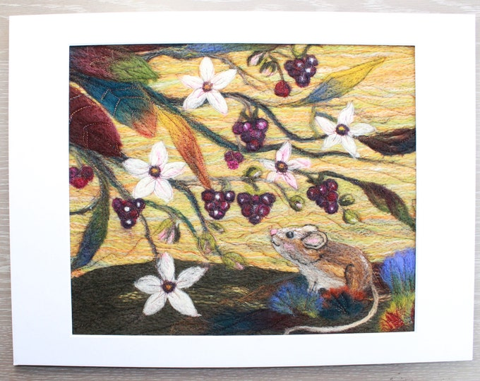 Needle felted Picture in card mount