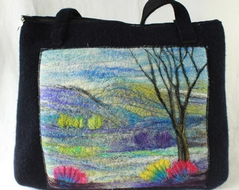 Handmade felted work bag, tote, knitting bag, large bag