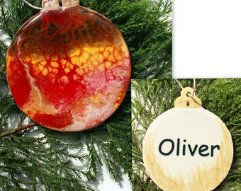 Christmas Bauble, decoration (B1), Hand-Painted, acrylic with resin coating