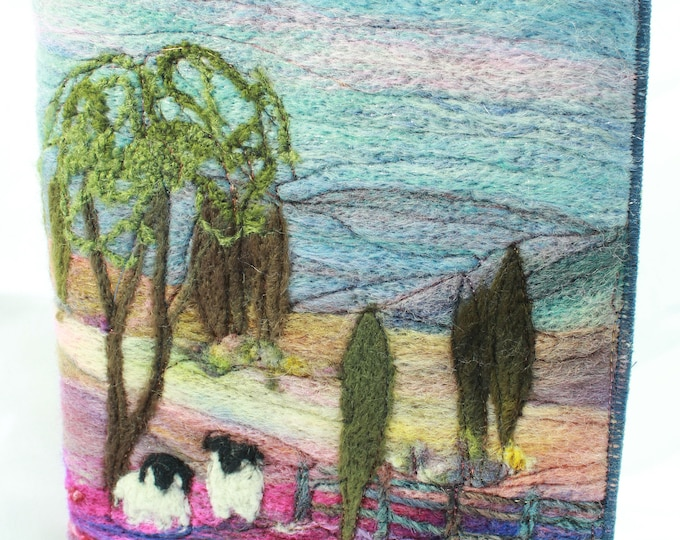 Needle Felted Covered A5 Book (Sheep under the tree)