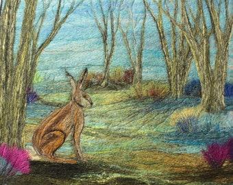 Needle felting kit, Felting kit, Picture kit, craft kit, The Hare picture kit, hand made picture.